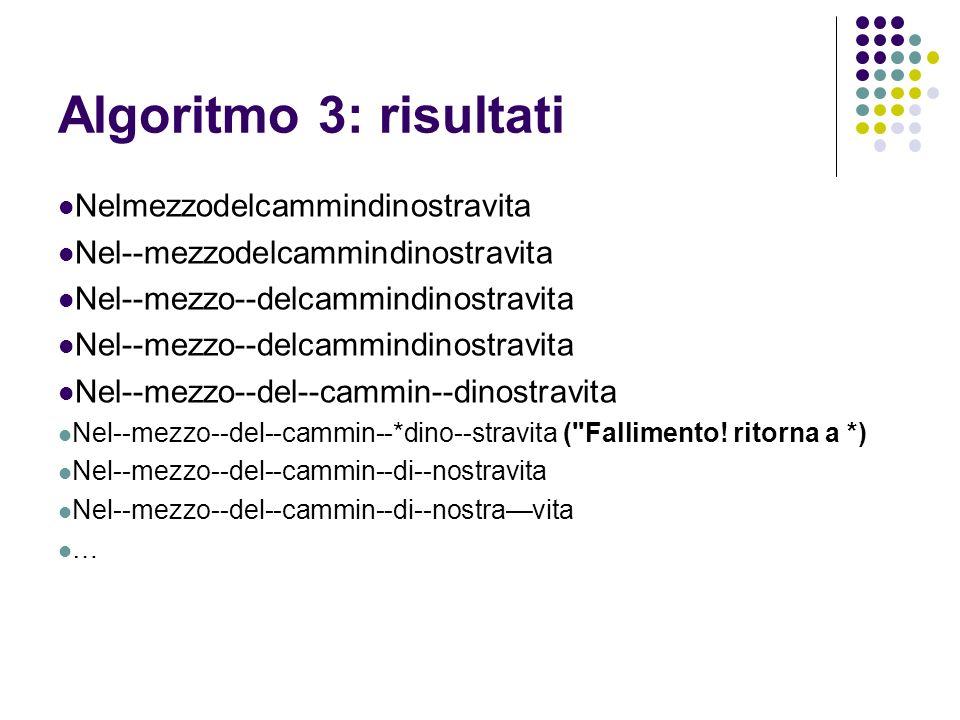 Algoritmo 3: risultati Nelmezzodelcammindinostravita Nel--mezzodelcammindinostravita Nel--mezzo--delcammindinostravita Nel--mezzo--del--cammin--dinost