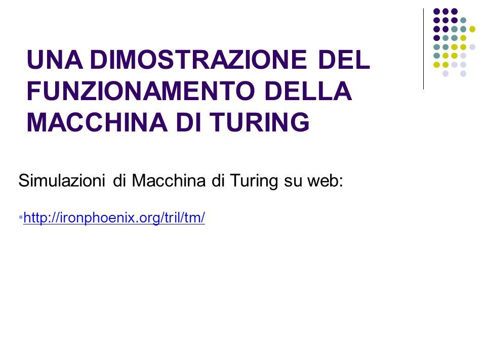 UNA DIMOSTRAZIONE DEL FUNZIONAMENTO DELLA MACCHINA DI TURING Simulazioni di Macchina di Turing su web: http://ironphoenix.org/tril/tm/