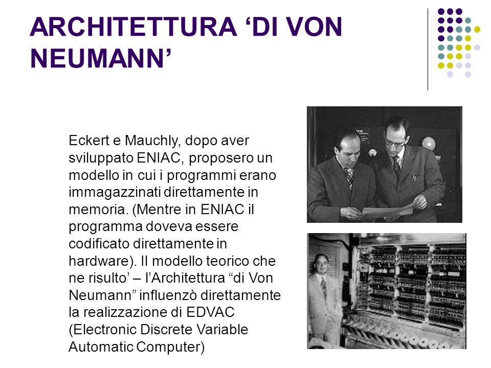 ARCHITETTURA DI VON NEUMANN Eckert e Mauchly, dopo aver sviluppato ENIAC, proposero un modello in cui i programmi erano immagazzinati direttamente in