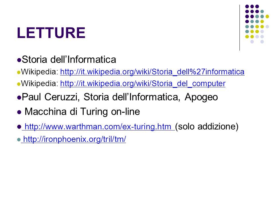 LETTURE Storia dellInformatica Wikipedia: http://it.wikipedia.org/wiki/Storia_dell%27informaticahttp://it.wikipedia.org/wiki/Storia_dell%27informatica