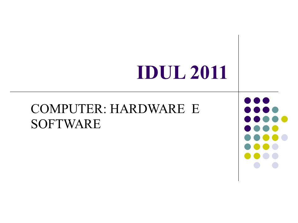IDUL 2011 COMPUTER: HARDWARE E SOFTWARE