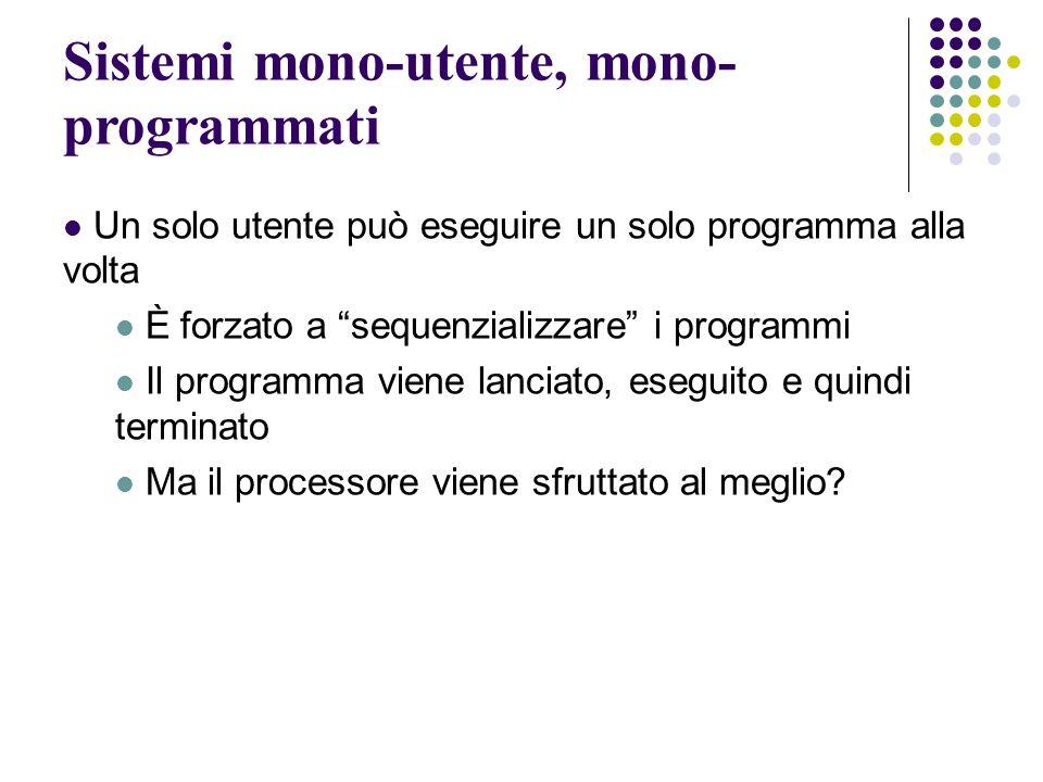 Sistemi mono-utente, mono- programmati Un solo utente può eseguire un solo programma alla volta È forzato a sequenzializzare i programmi Il programma viene lanciato, eseguito e quindi terminato Ma il processore viene sfruttato al meglio?