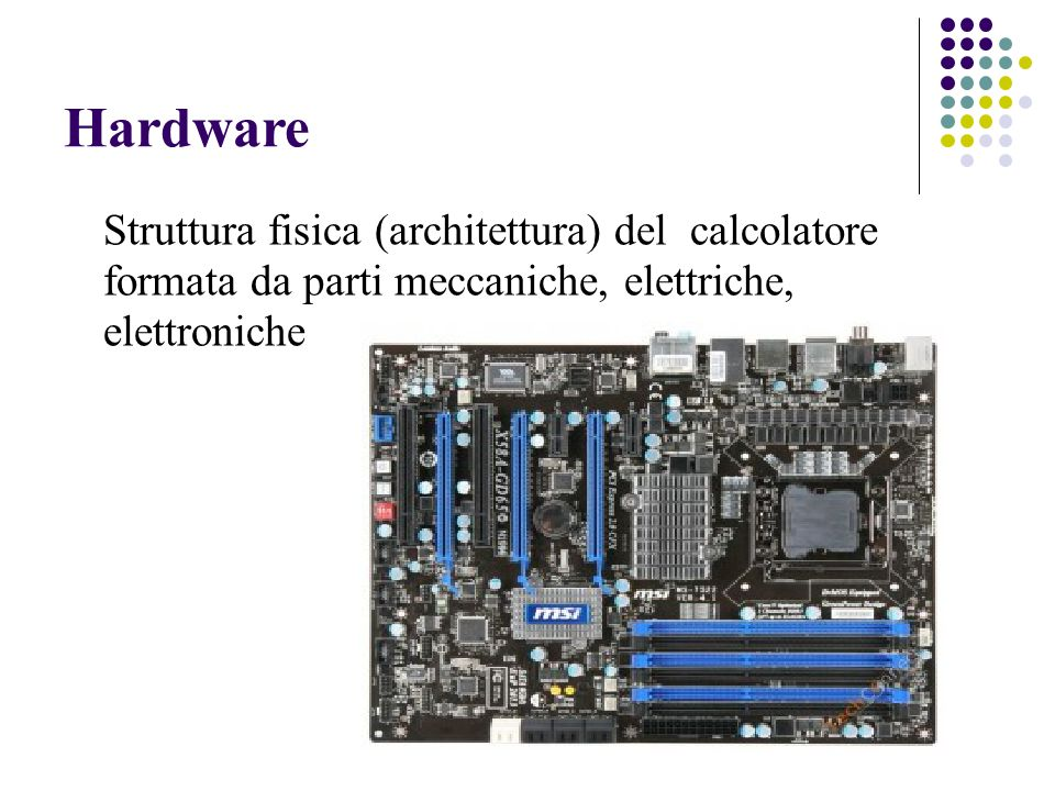 Memoria principale (RAM) Alcune proprietà della memoria principale Veloce: per leggere/scrivere una cella ci vuole un tempo di accesso dellordine di poche decine di nanosecondi (millesimi di milionesimi di secondo = 10 -9 sec.) Volatile: è fatta di componenti elettronici, togliendo lalimentazione si perde tutto (Relativamente) costosa (circa 13 x GB)