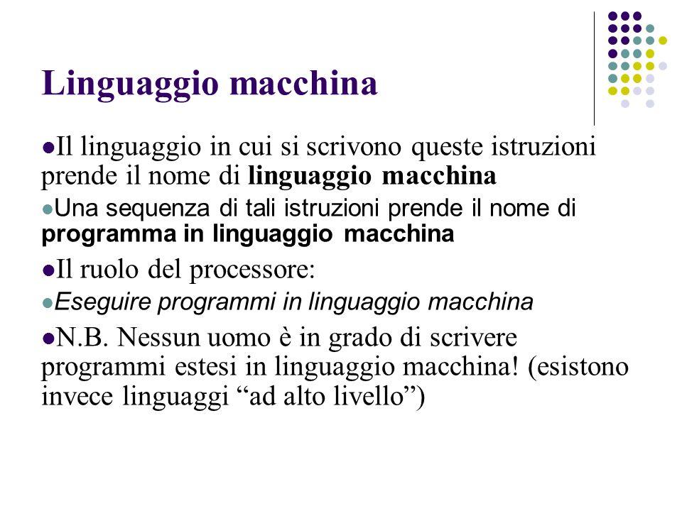 Linguaggio macchina Il linguaggio in cui si scrivono queste istruzioni prende il nome di linguaggio macchina Una sequenza di tali istruzioni prende il nome di programma in linguaggio macchina Il ruolo del processore: Eseguire programmi in linguaggio macchina N.B.