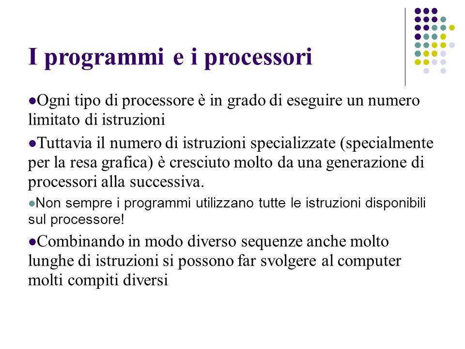 I programmi e i processori Ogni tipo di processore è in grado di eseguire un numero limitato di istruzioni Tuttavia il numero di istruzioni specializzate (specialmente per la resa grafica) è cresciuto molto da una generazione di processori alla successiva.