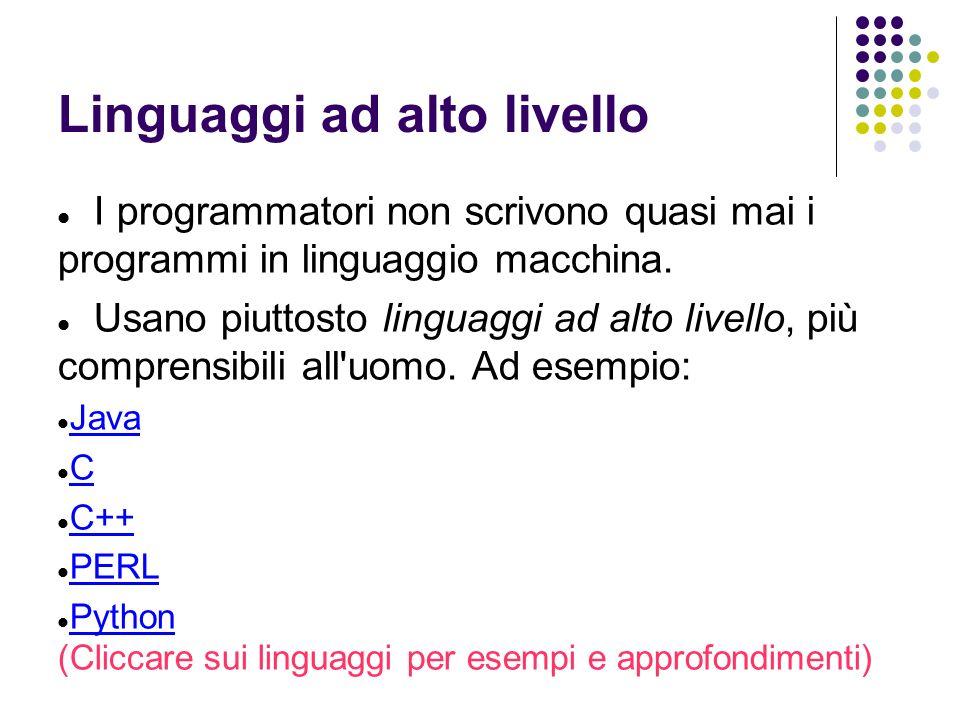 Linguaggi ad alto livello I programmatori non scrivono quasi mai i programmi in linguaggio macchina.