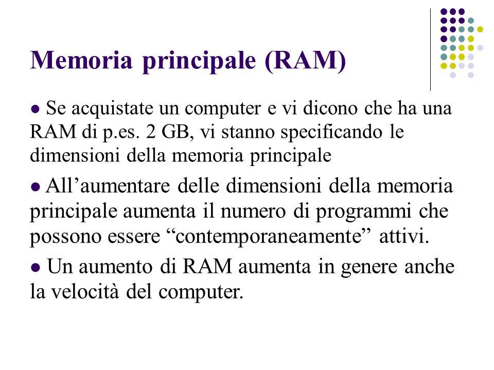 Memoria principale (RAM) Se acquistate un computer e vi dicono che ha una RAM di p.es.