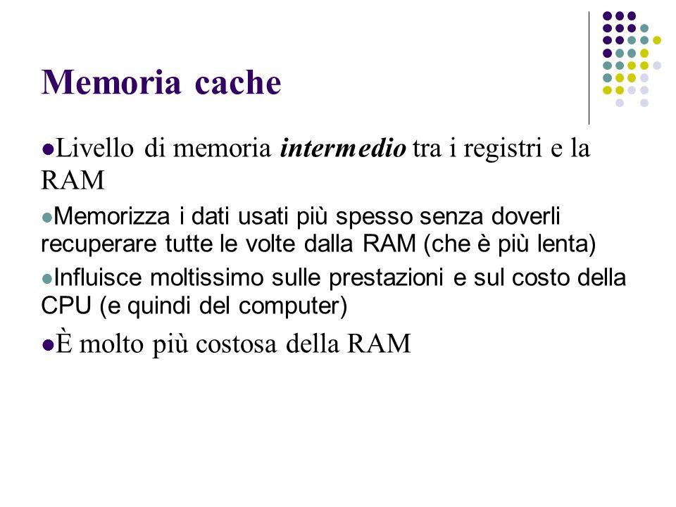 Memoria cache Livello di memoria intermedio tra i registri e la RAM Memorizza i dati usati più spesso senza doverli recuperare tutte le volte dalla RAM (che è più lenta) Influisce moltissimo sulle prestazioni e sul costo della CPU (e quindi del computer) È molto più costosa della RAM