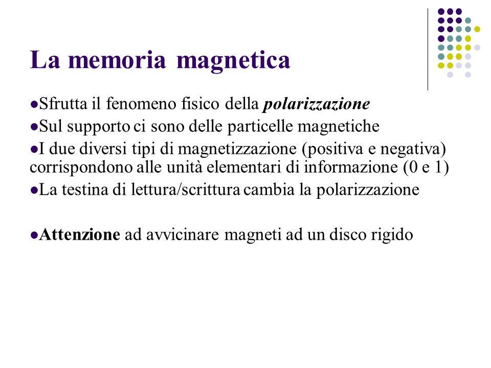 La memoria magnetica Sfrutta il fenomeno fisico della polarizzazione Sul supporto ci sono delle particelle magnetiche I due diversi tipi di magnetizzazione (positiva e negativa) corrispondono alle unità elementari di informazione (0 e 1) La testina di lettura/scrittura cambia la polarizzazione Attenzione ad avvicinare magneti ad un disco rigido