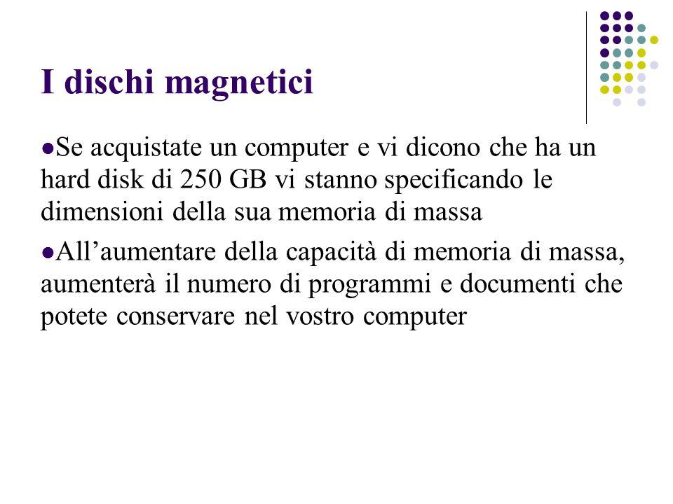 I dischi magnetici Se acquistate un computer e vi dicono che ha un hard disk di 250 GB vi stanno specificando le dimensioni della sua memoria di massa Allaumentare della capacità di memoria di massa, aumenterà il numero di programmi e documenti che potete conservare nel vostro computer