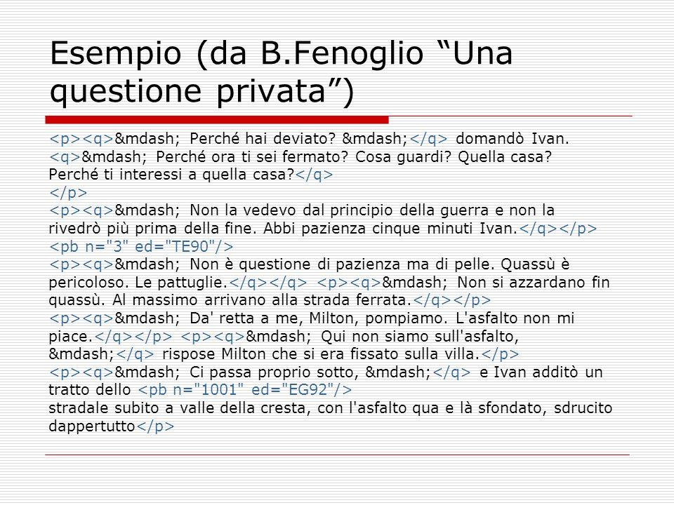 Esempio (da B.Fenoglio Una questione privata) — Perché hai deviato? — domandò Ivan. — Perché ora ti sei fermato? Cosa guardi? Quella