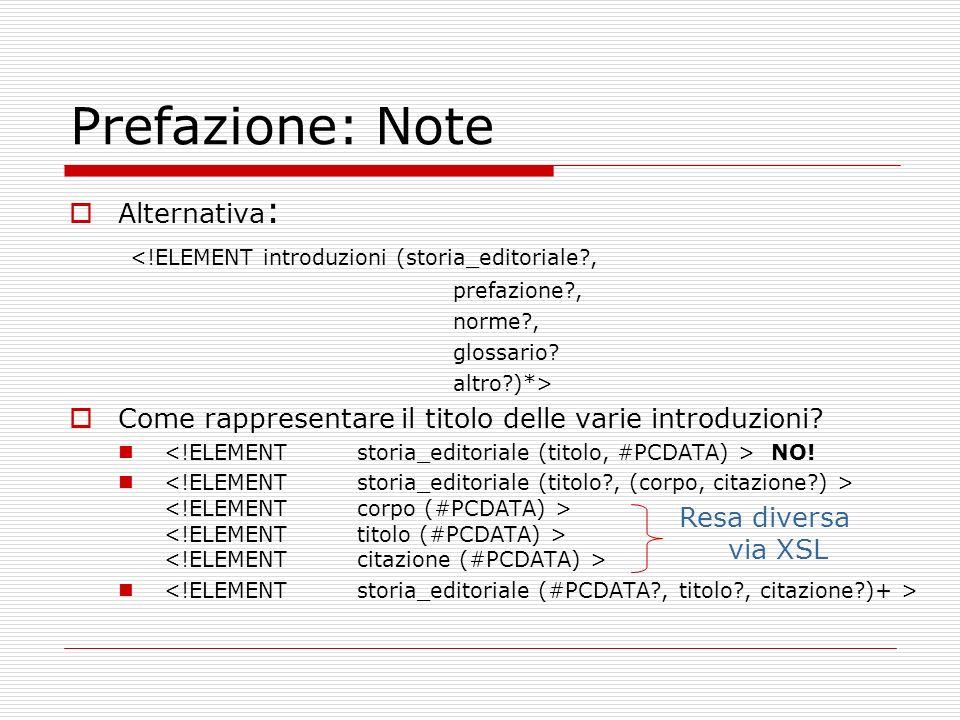 Prefazione: Note Alternativa : <!ELEMENT introduzioni (storia_editoriale?, prefazione?, norme?, glossario? altro?)*> Come rappresentare il titolo dell