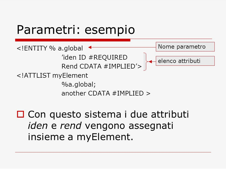 Parametri: esempio <!ENTITY % a.global iden ID #REQUIRED Rend CDATA #IMPLIED> <!ATTLIST myElement %a.global; another CDATA #IMPLIED > Con questo sistema i due attributi iden e rend vengono assegnati insieme a myElement.