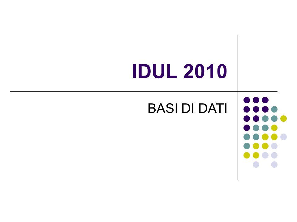 IDUL 2010 BASI DI DATI