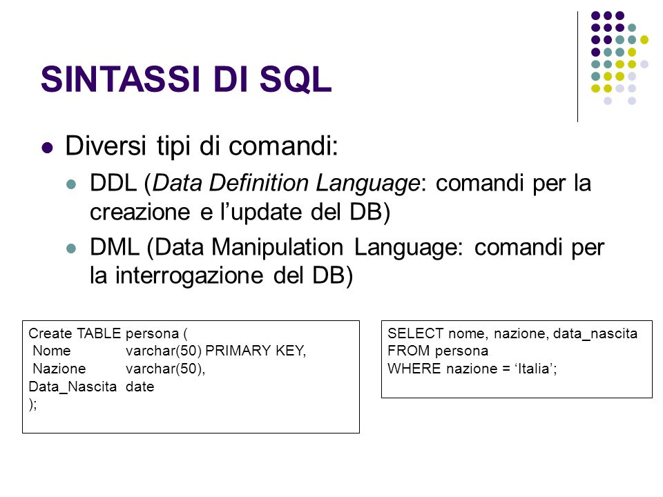 SINTASSI DI SQL Diversi tipi di comandi: DDL (Data Definition Language: comandi per la creazione e lupdate del DB) DML (Data Manipulation Language: comandi per la interrogazione del DB) Create TABLE persona ( Nomevarchar(50) PRIMARY KEY, Nazione varchar(50), Data_Nascitadate ); SELECT nome, nazione, data_nascita FROM persona WHERE nazione = Italia;
