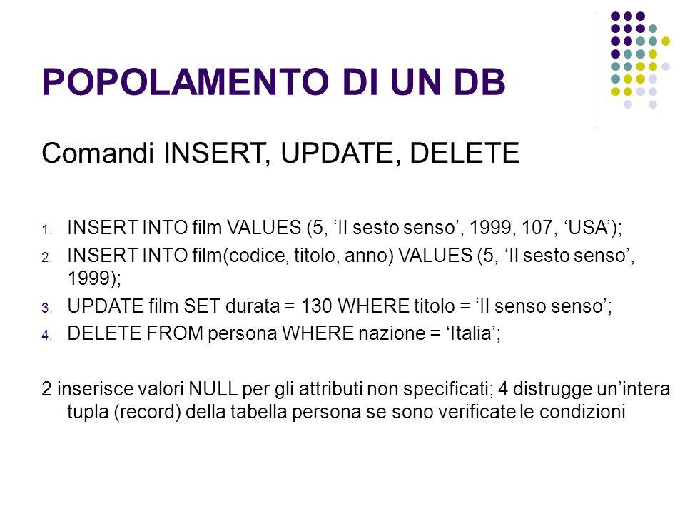 POPOLAMENTO DI UN DB Comandi INSERT, UPDATE, DELETE 1.
