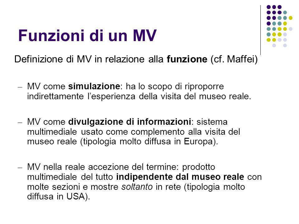 Funzioni di un MV Definizione di MV in relazione alla funzione (cf. Maffei) – MV come simulazione: ha lo scopo di riproporre indirettamente lesperienz
