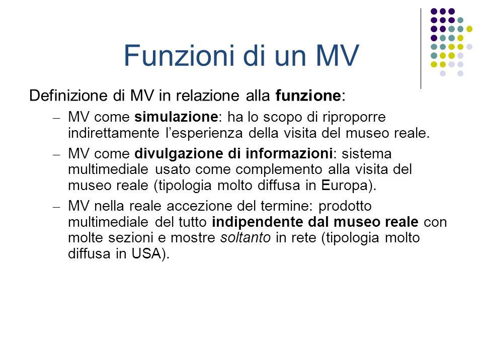 Funzioni di un MV Definizione di MV in relazione alla funzione: – MV come simulazione: ha lo scopo di riproporre indirettamente lesperienza della visi