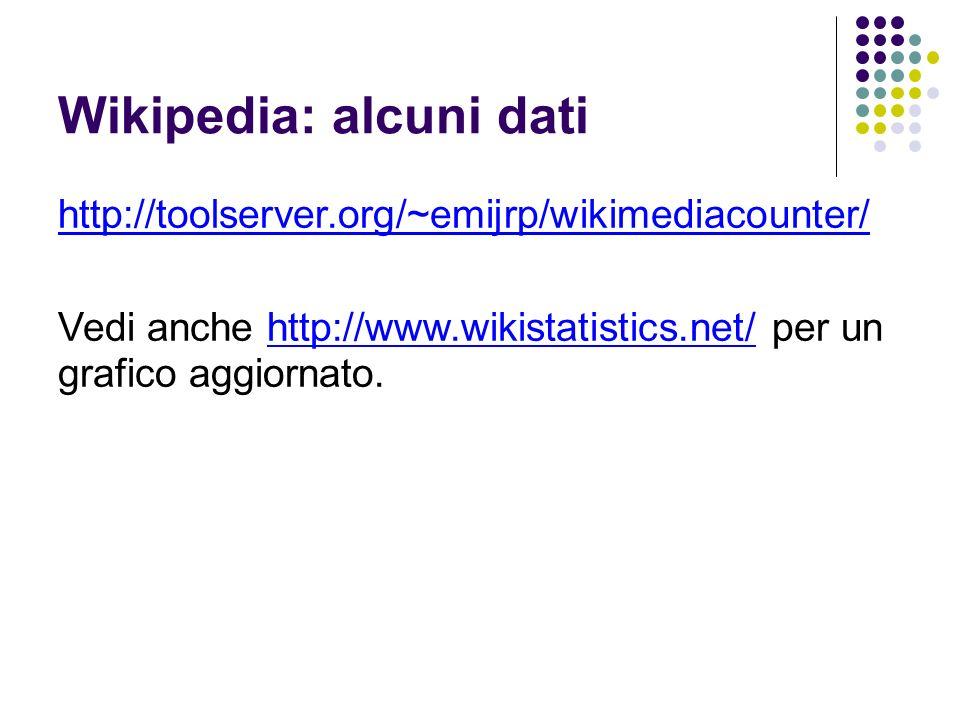 Wikipedia: alcuni dati http://toolserver.org/~emijrp/wikimediacounter/ Vedi anche http://www.wikistatistics.net/ per un grafico aggiornato.http://www.