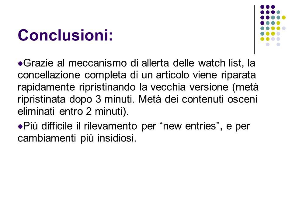 Conclusioni: Grazie al meccanismo di allerta delle watch list, la concellazione completa di un articolo viene riparata rapidamente ripristinando la ve