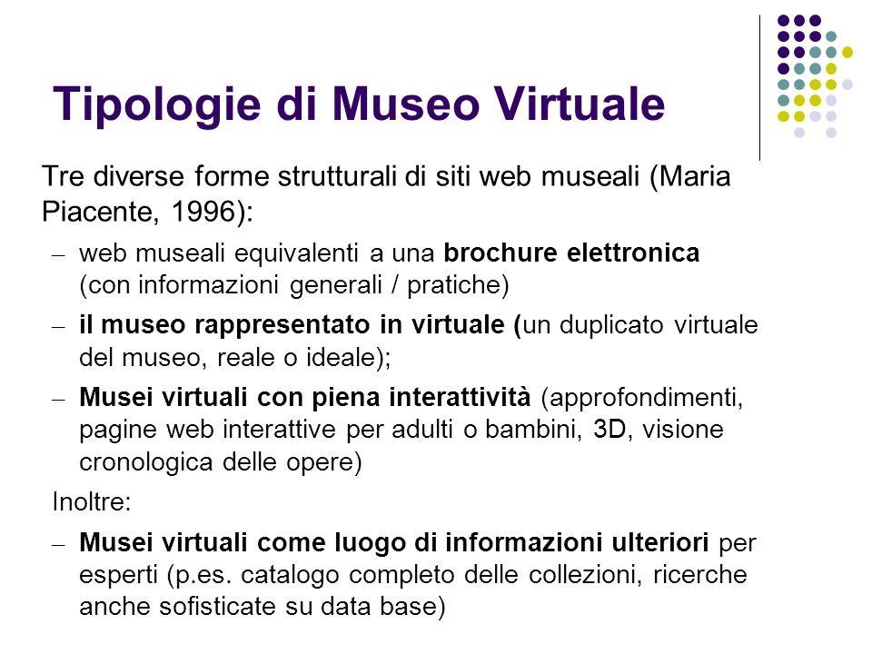 Tipologie di Museo Virtuale Tre diverse forme strutturali di siti web museali (Maria Piacente, 1996): – web museali equivalenti a una brochure elettro