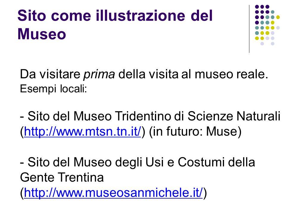 Sito come illustrazione del Museo Da visitare prima della visita al museo reale. Esempi locali: - Sito del Museo Tridentino di Scienze Naturali (http: