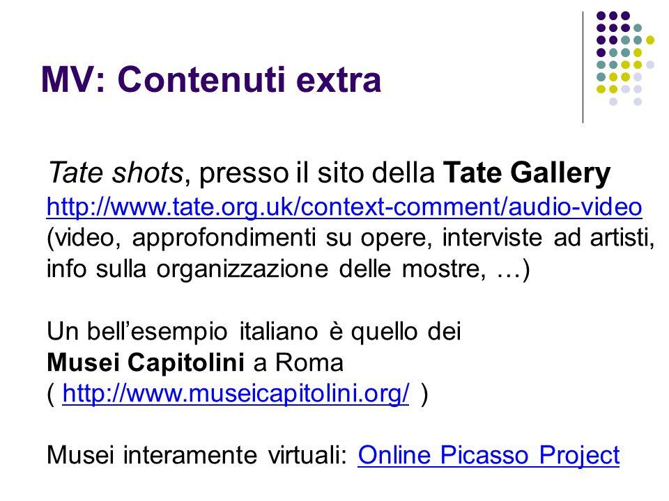 MV: Contenuti extra Tate shots, presso il sito della Tate Gallery http://www.tate.org.uk/context-comment/audio-video (video, approfondimenti su opere,