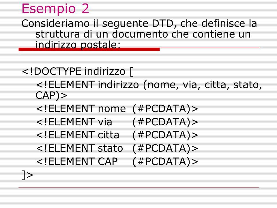 Osservazioni Osservazioni: il nome del document type ( indirizzo ) è puramente arbitrario, avremmo potuto scrivere anche address o altro...; il root element deve avere (obbligatoriamente) lo stesso nome del document type (nell esempio, indirizzo );