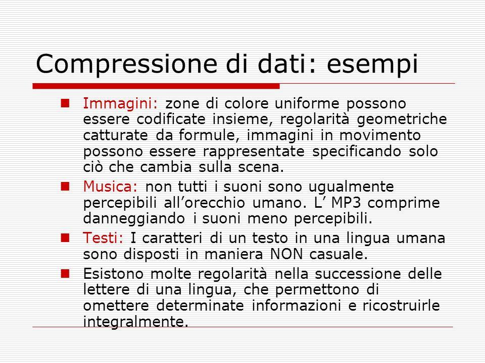 Compressione di dati: esempi Immagini: zone di colore uniforme possono essere codificate insieme, regolarità geometriche catturate da formule, immagin