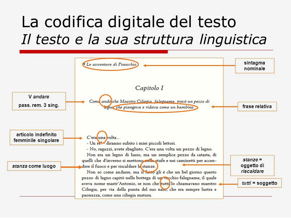 La codifica digitale del testo Il testo e la sua struttura linguistica frase relativa tutti = soggetto sintagma nominale articolo indefinito femminile