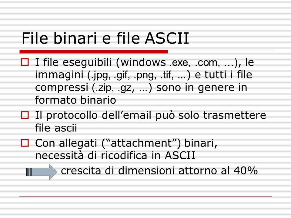 File binari e file ASCII I file eseguibili (windows.exe,.com, …), le immagini (.jpg,.gif,.png,.tif, …) e tutti i file compressi (.zip,.gz, …) sono in
