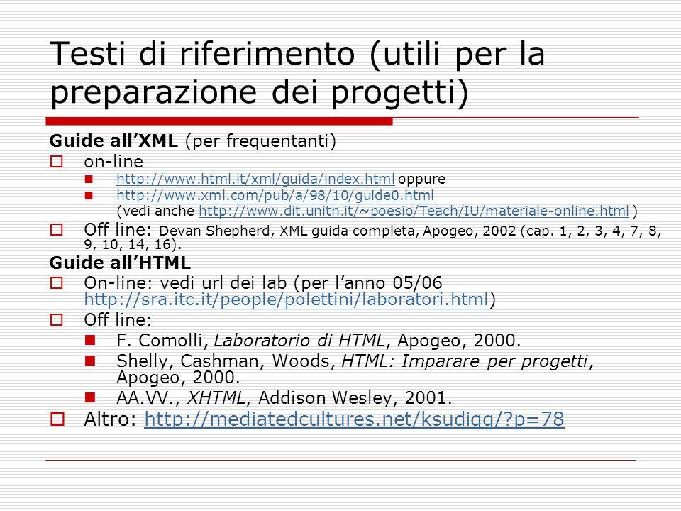 Testi di riferimento (utili per la preparazione dei progetti) Guide allXML (per frequentanti) on-line http://www.html.it/xml/guida/index.html oppure h