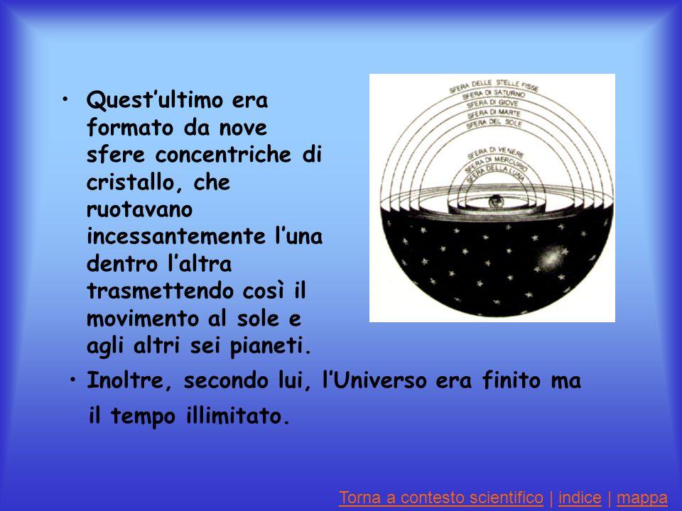 Questultimo era formato da nove sfere concentriche di cristallo, che ruotavano incessantemente luna dentro laltra trasmettendo così il movimento al sole e agli altri sei pianeti.