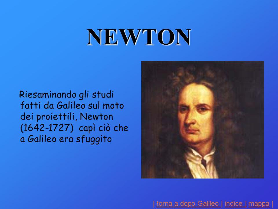 | torna a dopo Galileo | indice | mappa |torna a dopo Galileo indice |mappa NEWTON Riesaminando gli studi fatti da Galileo sul moto dei proiettili, Newton (1642-1727) capì ciò che a Galileo era sfuggito