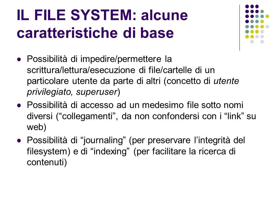 IL FILE SYSTEM: alcune caratteristiche di base Possibilità di impedire/permettere la scrittura/lettura/esecuzione di file/cartelle di un particolare u