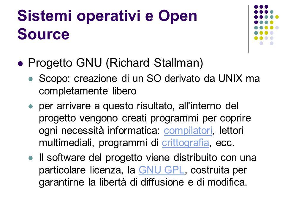 Sistemi operativi e Open Source Progetto GNU (Richard Stallman) Scopo: creazione di un SO derivato da UNIX ma completamente libero per arrivare a ques