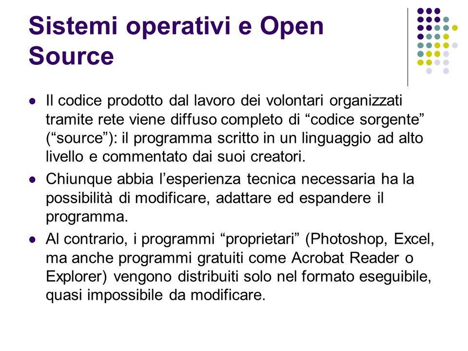 Sistemi operativi e Open Source Il codice prodotto dal lavoro dei volontari organizzati tramite rete viene diffuso completo di codice sorgente (source