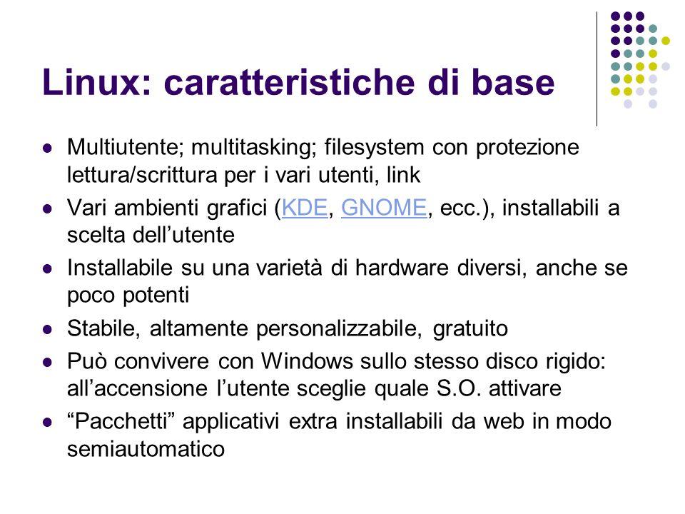 Linux: caratteristiche di base Multiutente; multitasking; filesystem con protezione lettura/scrittura per i vari utenti, link Vari ambienti grafici (K