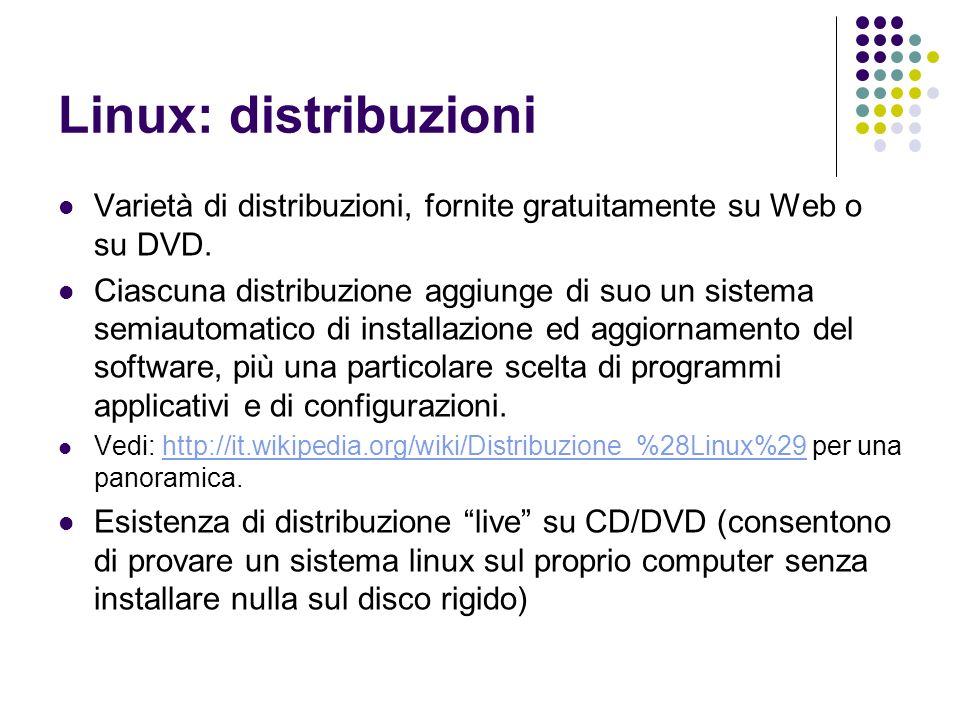 Linux: distribuzioni Varietà di distribuzioni, fornite gratuitamente su Web o su DVD. Ciascuna distribuzione aggiunge di suo un sistema semiautomatico