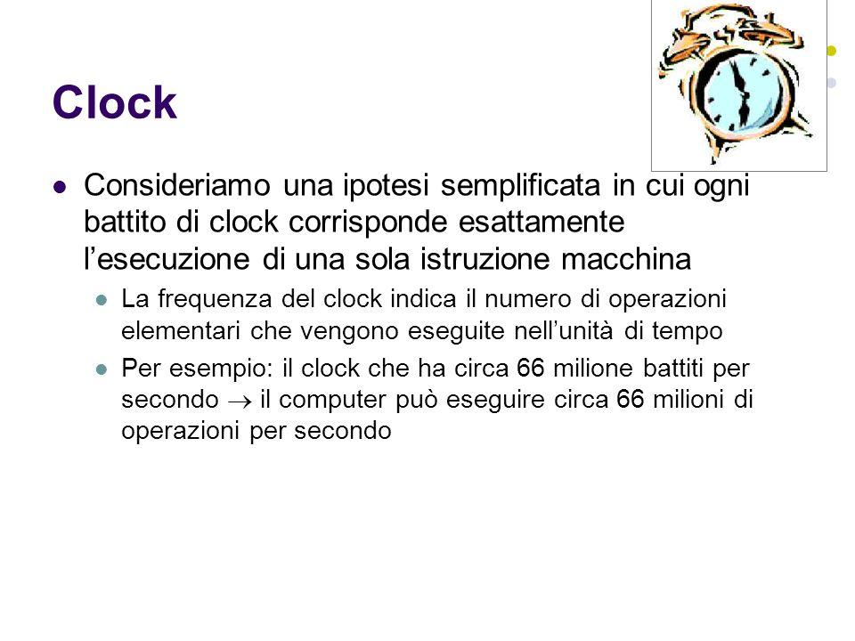 Clock Consideriamo una ipotesi semplificata in cui ogni battito di clock corrisponde esattamente lesecuzione di una sola istruzione macchina La freque