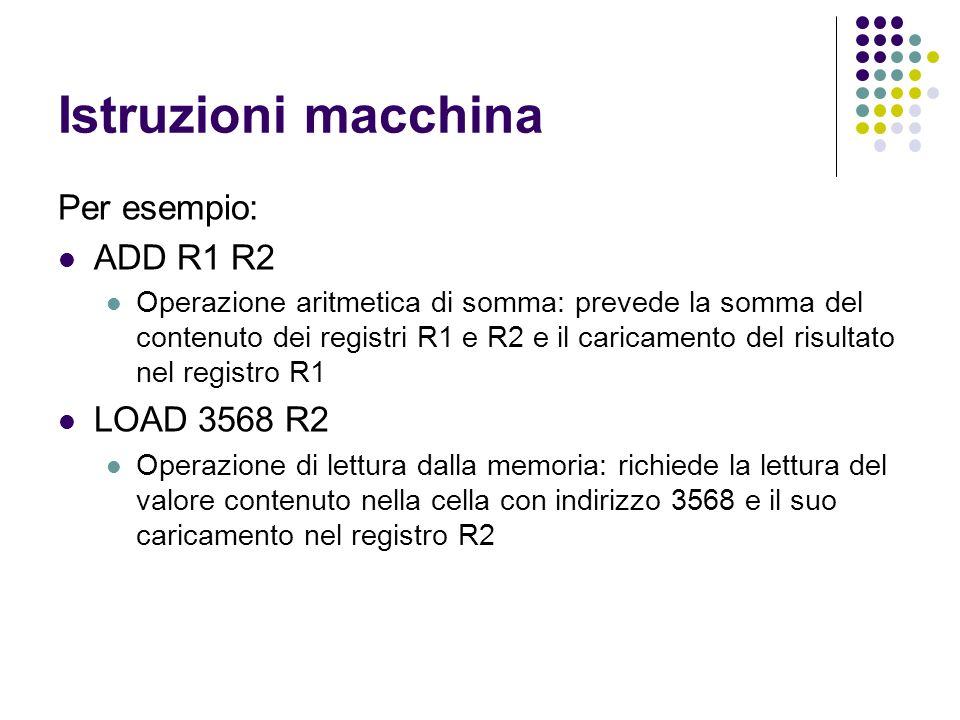Istruzioni macchina Per esempio: ADD R1 R2 Operazione aritmetica di somma: prevede la somma del contenuto dei registri R1 e R2 e il caricamento del ri
