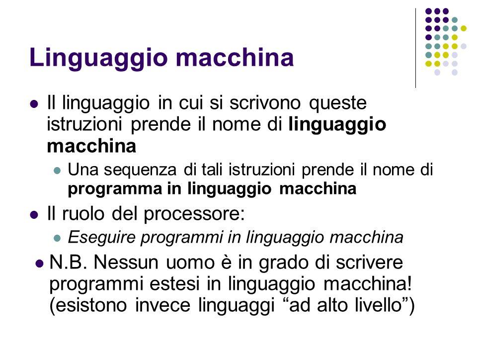 Linguaggio macchina Il linguaggio in cui si scrivono queste istruzioni prende il nome di linguaggio macchina Una sequenza di tali istruzioni prende il