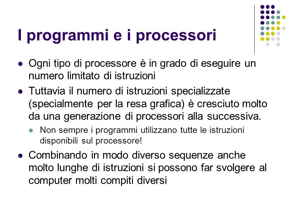 I programmi e i processori Ogni tipo di processore è in grado di eseguire un numero limitato di istruzioni Tuttavia il numero di istruzioni specializz
