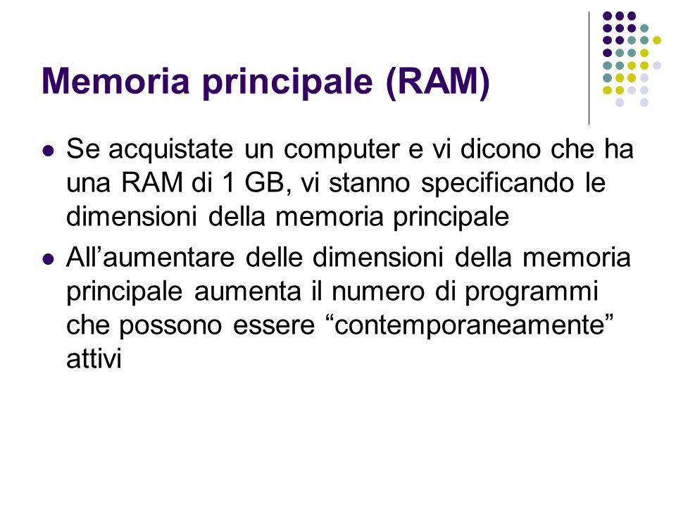 Memoria principale (RAM) Se acquistate un computer e vi dicono che ha una RAM di 1 GB, vi stanno specificando le dimensioni della memoria principale A