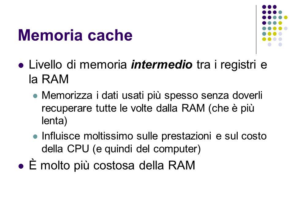 Memoria cache Livello di memoria intermedio tra i registri e la RAM Memorizza i dati usati più spesso senza doverli recuperare tutte le volte dalla RA