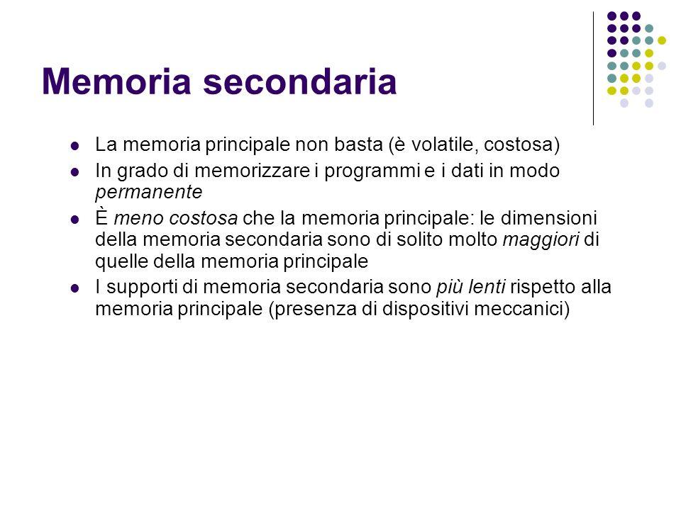 Memoria secondaria La memoria principale non basta (è volatile, costosa) In grado di memorizzare i programmi e i dati in modo permanente È meno costos