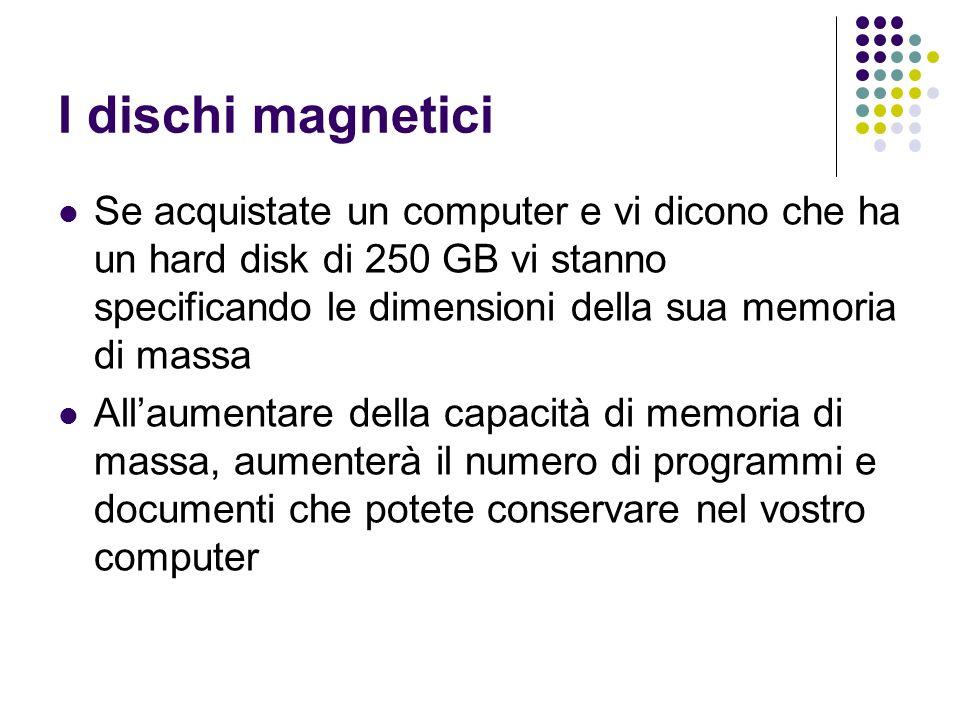 I dischi magnetici Se acquistate un computer e vi dicono che ha un hard disk di 250 GB vi stanno specificando le dimensioni della sua memoria di massa