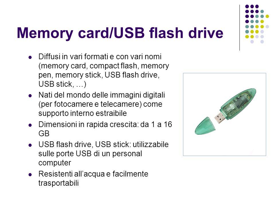 Memory card/USB flash drive Diffusi in vari formati e con vari nomi (memory card, compact flash, memory pen, memory stick, USB flash drive, USB stick,