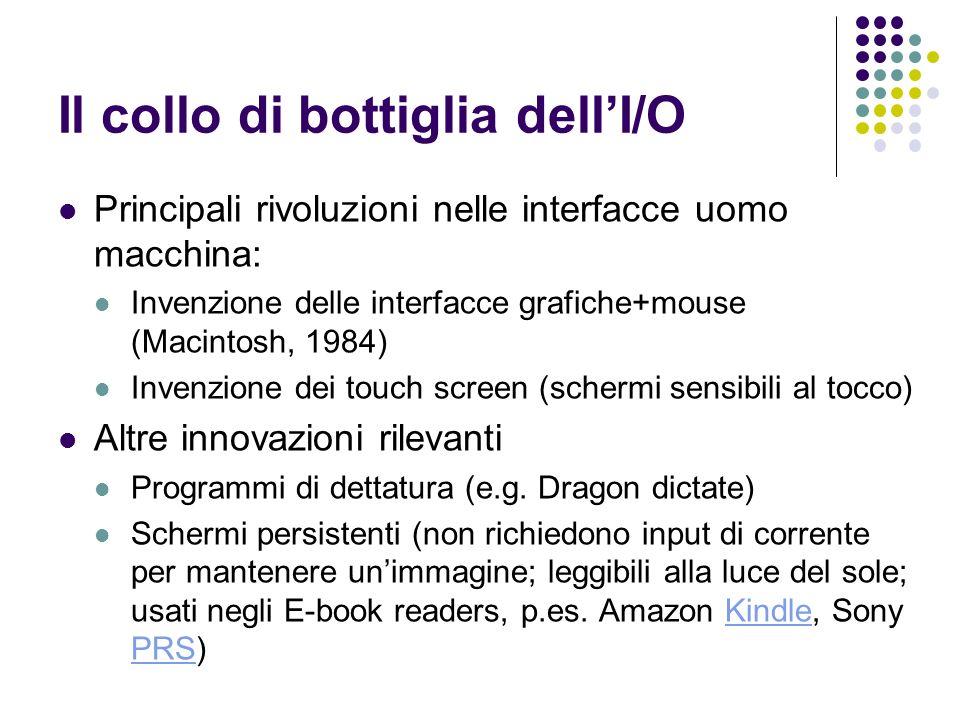 Il collo di bottiglia dellI/O Principali rivoluzioni nelle interfacce uomo macchina: Invenzione delle interfacce grafiche+mouse (Macintosh, 1984) Inve