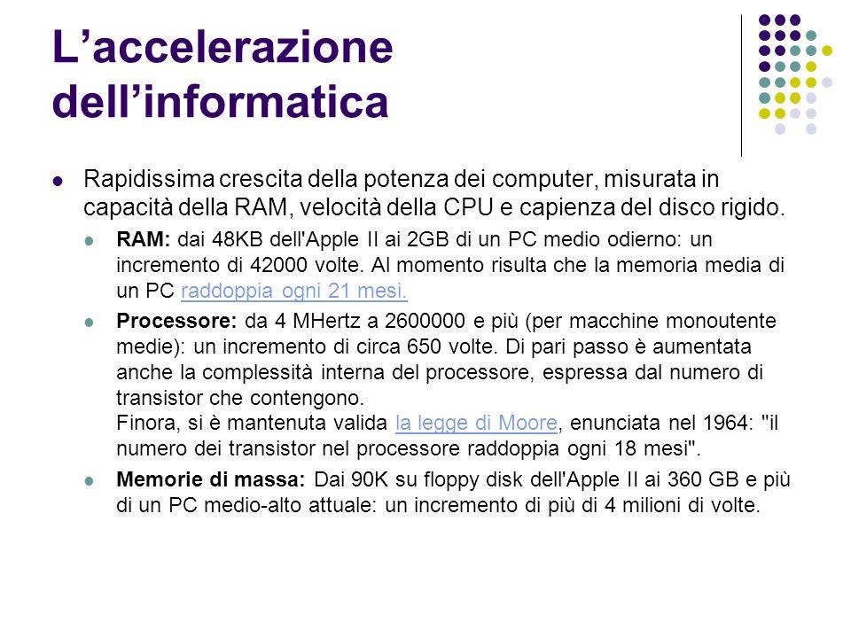 Laccelerazione dellinformatica Rapidissima crescita della potenza dei computer, misurata in capacità della RAM, velocità della CPU e capienza del disc